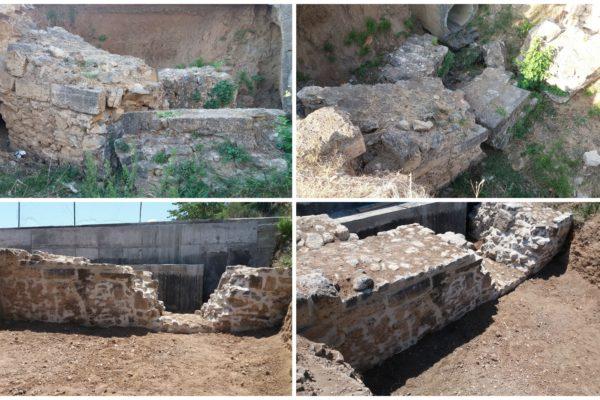 Βαριά συντήρηση- αποκατάσταση τμήματος τείχους του Διατειχίσματος της Ν. Ποτίδαιας Χαλκιδικής. Αποσπαση, απομάκρυνση και επανατοποθέτηση όγκων τείχους οι οποίοι είχαν καταρρεύσει λόγω υποσκαφής των θεμελίων τους από παρακείμενο αγωγό ομβρίων.